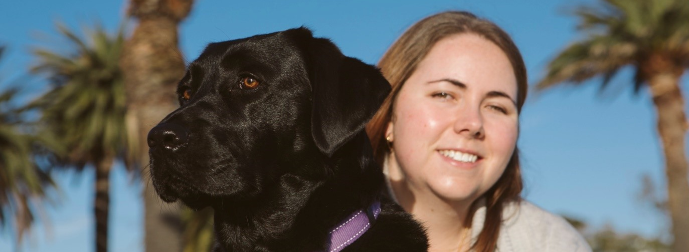 Harlow, black Labrador Seeing Eye Dog and Leah